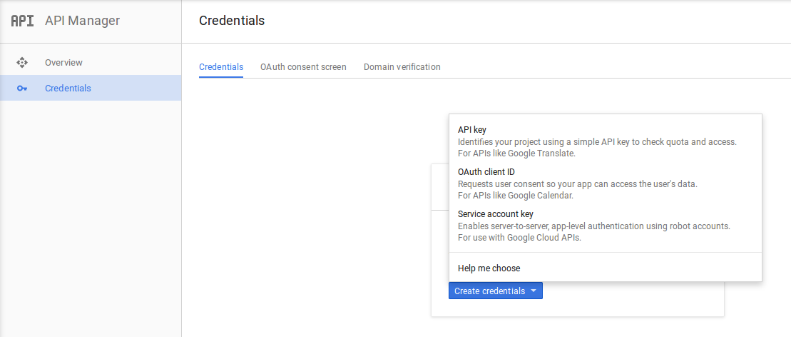 creating credentials for GCM project in Google Developer Console