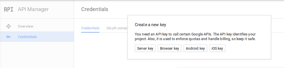 creating server key for GCM project in Google Developer Console