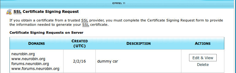 certficate signing request list in cpanel